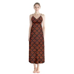 Scales1 Black Marble & Reddish Brown Leather Button Up Chiffon Maxi Dress