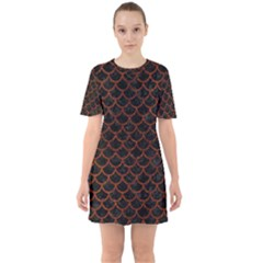 Scales1 Black Marble & Reddish Brown Leather (r) Sixties Short Sleeve Mini Dress