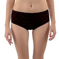 Scales2 Black Marble & Reddish Brown Leather (r) Reversible Mid Waist Bikini Bottoms