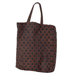 Scales2 Black Marble & Reddish Brown Leather (r) Giant Grocery Zipper Tote by trendistuff