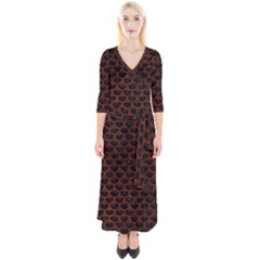 Scales3 Black Marble & Reddish Brown Leather (r) Quarter Sleeve Wrap Maxi Dress