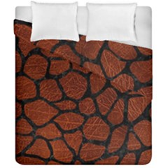 Skin1 Black Marble & Reddish Brown Leather (r) Duvet Cover Double Side (california King Size) by trendistuff