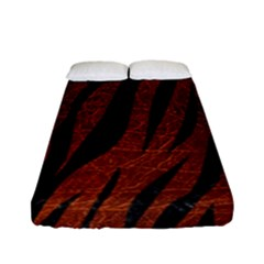 Skin3 Black Marble & Reddish Brown Leather Fitted Sheet (full/ Double Size) by trendistuff