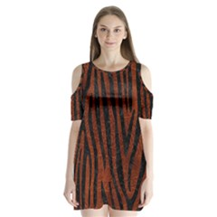 Skin4 Black Marble & Reddish Brown Leather (r) Shoulder Cutout Velvet One Piece