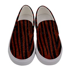Skin4 Black Marble & Reddish Brown Leather (r) Women s Canvas Slip Ons