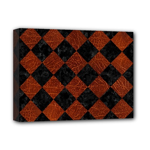 Square2 Black Marble & Reddish Brown Leather Deluxe Canvas 16  X 12   by trendistuff