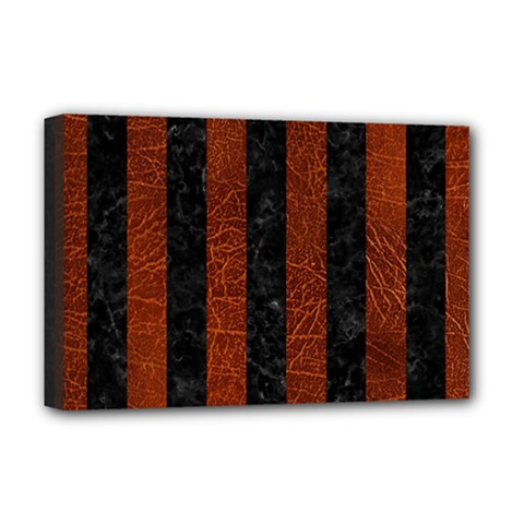 Stripes1 Black Marble & Reddish Brown Leather Deluxe Canvas 18  X 12   by trendistuff