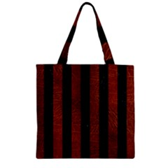 Stripes1 Black Marble & Reddish Brown Leather Zipper Grocery Tote Bag by trendistuff