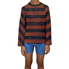 Stripes2 Black Marble & Reddish Brown Leather Kids  Long Sleeve Swimwear