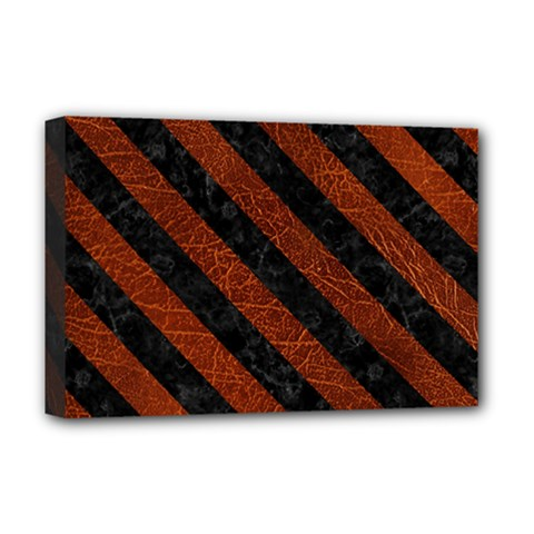 Stripes3 Black Marble & Reddish Brown Leather Deluxe Canvas 18  X 12   by trendistuff
