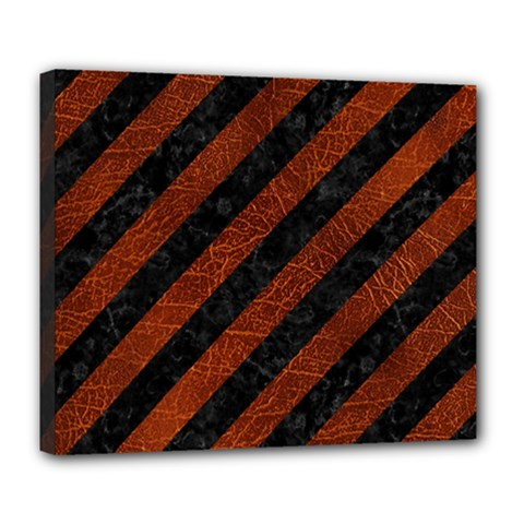 Stripes3 Black Marble & Reddish Brown Leather (r) Deluxe Canvas 24  X 20   by trendistuff