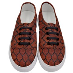 Tile1 Black Marble & Reddish Brown Leather Women s Classic Low Top Sneakers