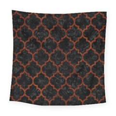 Tile1 Black Marble & Reddish Brown Leather (r) Square Tapestry (large) by trendistuff