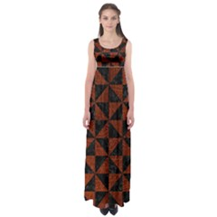 Triangle1 Black Marble & Reddish Brown Leather Empire Waist Maxi Dress