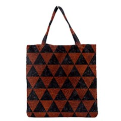 Triangle3 Black Marble & Reddish Brown Leather Grocery Tote Bag