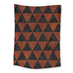 Triangle3 Black Marble & Reddish Brown Leather Medium Tapestry by trendistuff