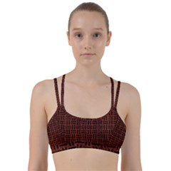 Woven1 Black Marble & Reddish Brown Leather Line Them Up Sports Bra