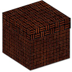 Woven1 Black Marble & Reddish Brown Leather (r) Storage Stool 12   by trendistuff