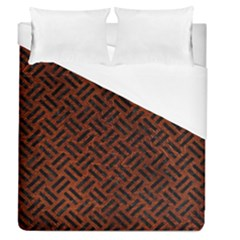 Woven2 Black Marble & Reddish Brown Leather Duvet Cover (queen Size) by trendistuff