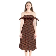 Woven2 Black Marble & Reddish Brown Leather Shoulder Tie Bardot Midi Dress