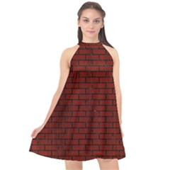 Brick1 Black Marble & Reddish Brown Wood Halter Neckline Chiffon Dress