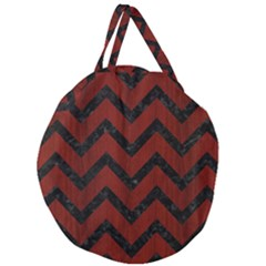 Chevron9 Black Marble & Reddish Brown Wood Giant Round Zipper Tote