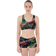 Abstract Shiny Night Lights 3 Work It Out Sports Bra Set by tarastyle