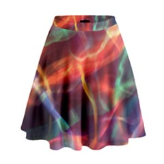 Abstract Shiny Night Lights 4 High Waist Skirt by tarastyle