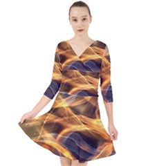 Abstract Shiny Night Lights 19 Quarter Sleeve Front Wrap Dress