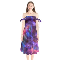 Abstract Shiny Night Lights 20 Shoulder Tie Bardot Midi Dress