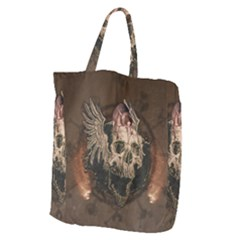 Awesome Creepy Skull With Rat And Wings Giant Grocery Zipper Tote