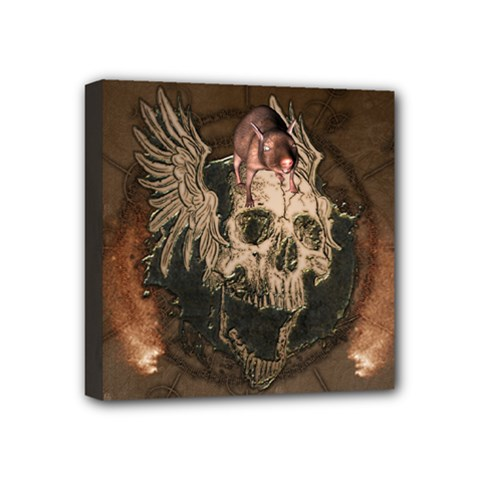 Awesome Creepy Skull With Rat And Wings Mini Canvas 4  X 4  by FantasyWorld7