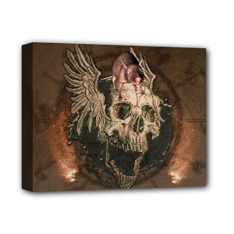 Awesome Creepy Skull With Rat And Wings Deluxe Canvas 14  X 11  by FantasyWorld7