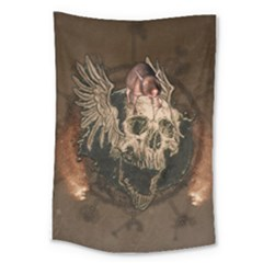 Awesome Creepy Skull With Rat And Wings Large Tapestry by FantasyWorld7