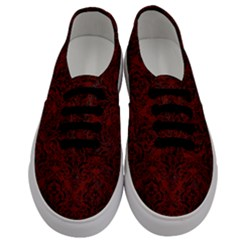 Damask1 Black Marble & Reddish Brown Wood Men s Classic Low Top Sneakers