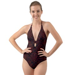 Damask1 Black Marble & Reddish Brown Wood (r) Halter Cut Out One Piece Swimsuit