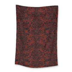 Damask2 Black Marble & Reddish Brown Wood Small Tapestry by trendistuff