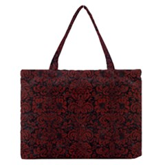 Damask2 Black Marble & Reddish Brown Wood (r) Zipper Medium Tote Bag by trendistuff