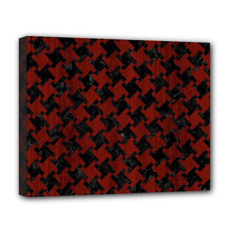 Houndstooth2 Black Marble & Reddish Brown Wood Deluxe Canvas 20  X 16   by trendistuff