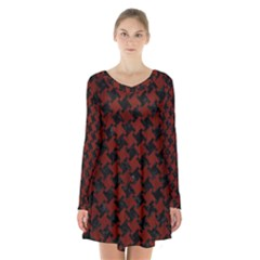 Houndstooth2 Black Marble & Reddish Brown Wood Long Sleeve Velvet V Neck Dress
