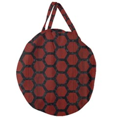 Hexagon2 Black Marble & Reddish Brown Wood Giant Round Zipper Tote by trendistuff