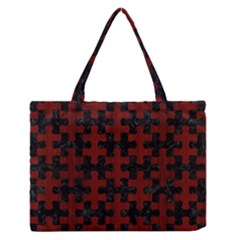 Puzzle1 Black Marble & Reddish Brown Wood Zipper Medium Tote Bag by trendistuff