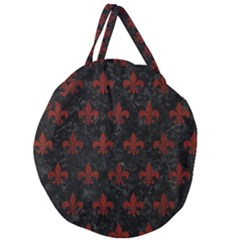 Royal1 Black Marble & Reddish Brown Wood Giant Round Zipper Tote