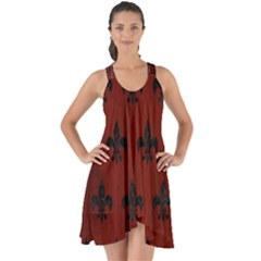 Royal1 Black Marble & Reddish Brown Wood (r) Show Some Back Chiffon Dress by trendistuff