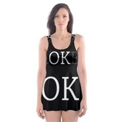 I Am Ok   Broken Skater Dress Swimsuit by Valentinaart