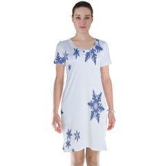 Star Snow Blue Rain Cool Short Sleeve Nightdress by AnjaniArt