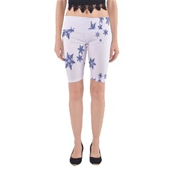 Star Snow Blue Rain Cool Yoga Cropped Leggings by AnjaniArt