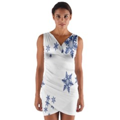 Star Snow Blue Rain Cool Wrap Front Bodycon Dress by AnjaniArt