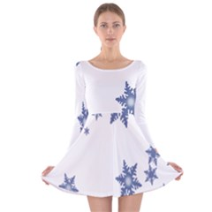 Star Snow Blue Rain Cool Long Sleeve Velvet Skater Dress by AnjaniArt