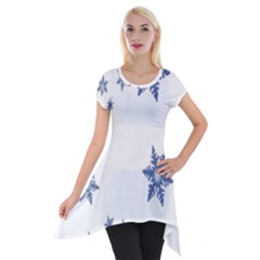 Star Snow Blue Rain Cool Short Sleeve Side Drop Tunic by AnjaniArt
